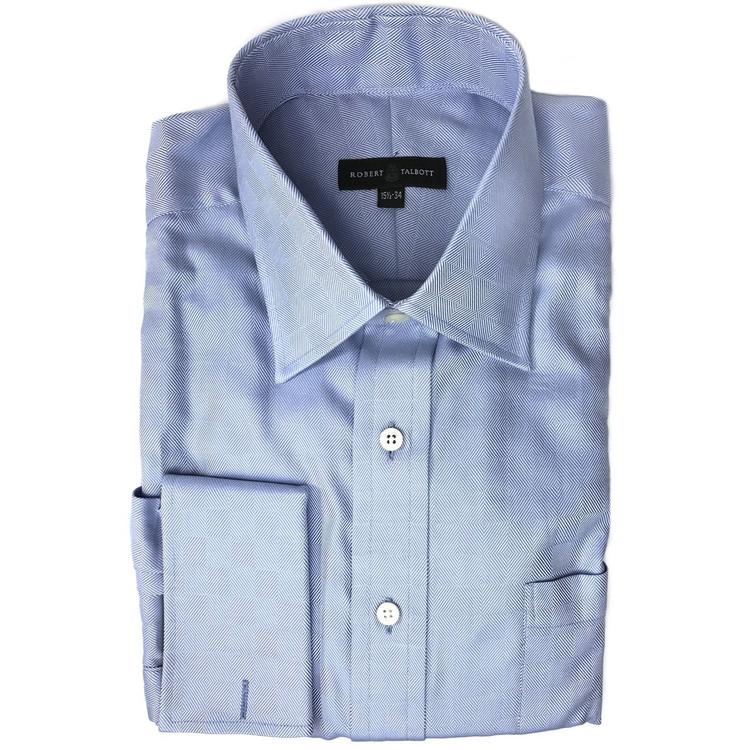 Blue Parquet Dress Shirt (Size 15 1/2 - 34) by Robert Talbott