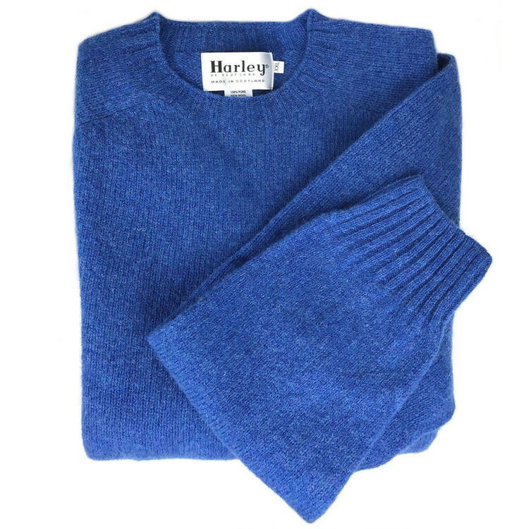 Shetland Saddle Shoulder Crew Neck Sweater in New Bright Blue (Size Large) by Harley of Scotland
