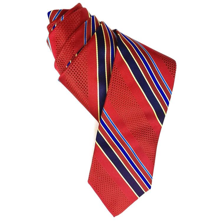 Best of Class Red, Navy, and Blue Stripe 'Venture' Woven Silk Tie by Robert Talbott