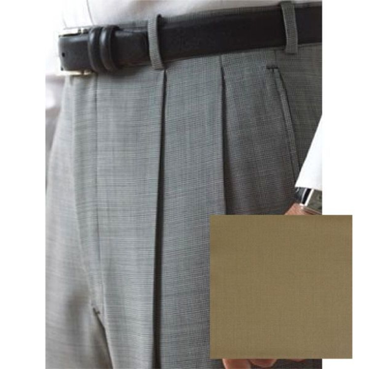 'Lanyard' Double Reverse Pleat Trousers in Tan 120's Worsted Wool Gabardine (Size 34) by Corbin