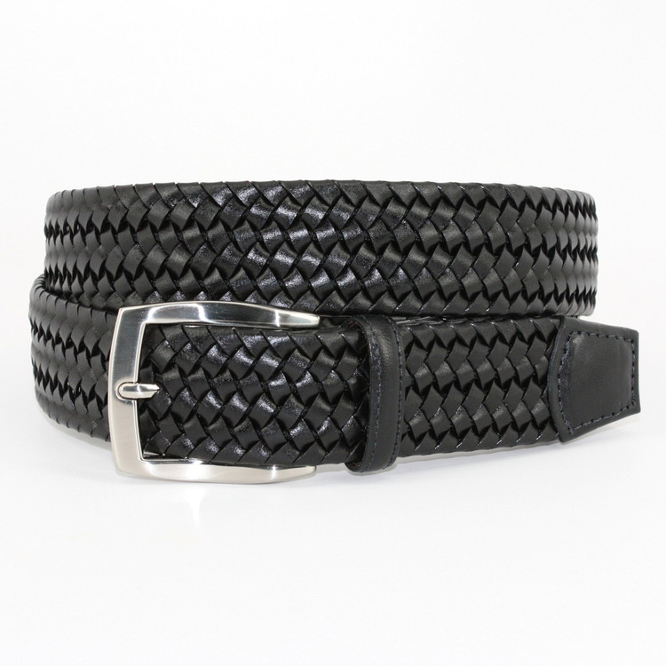 Italian Woven Stretch Leather Belt in Black by Torino Leather Co.