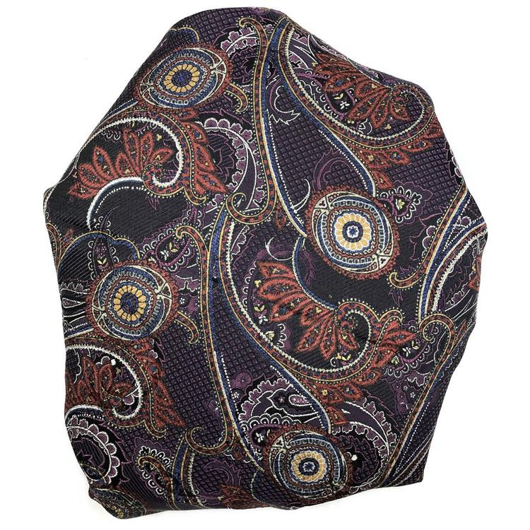 Custom Made Black, Rust, and Purple Overprinted Seven Fold Silk Tie by Robert Talbott