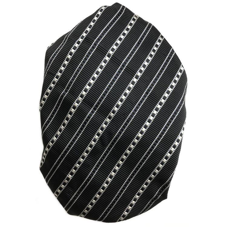 Custom Made Black, Grey, and Blue Stripe Seven Fold Silk Tie by Robert Talbott