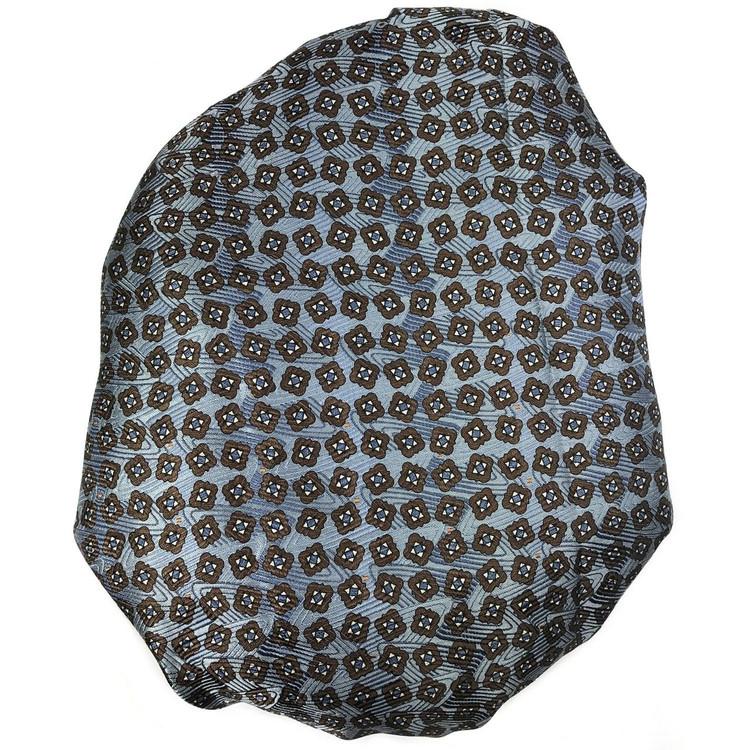 Custom Made Blue and Brown Overprinted Seven Fold Silk Tie by Robert Talbott