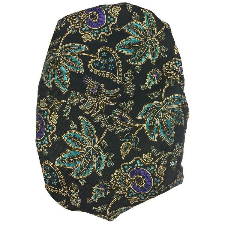 Custom Made Black, Gold, and Aqua Botanical 'Arabesque Jacquard' Seven Fold Silk Tie by Robert Talbott