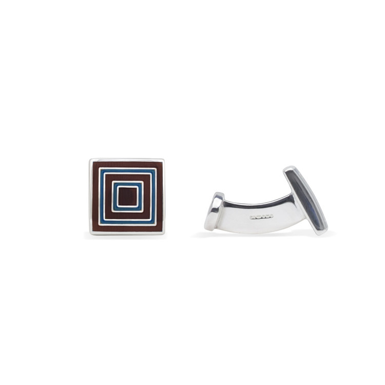 'Concentric Square' Sterling Silver Cufflinks in Brown and Blue by Robert Talbott