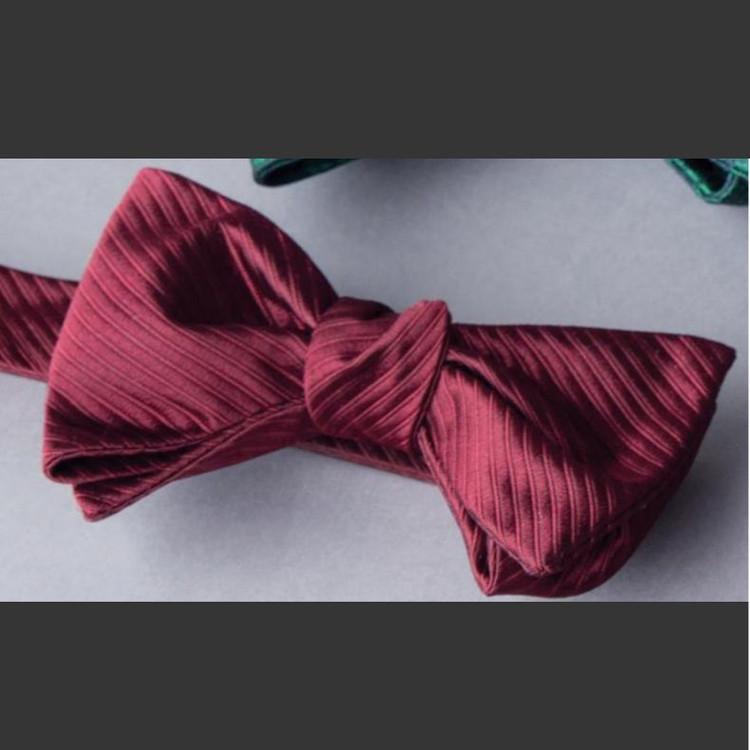 Burgundy 'Robert Talbott Protocol' Hand Sewn Woven Silk Bow Tie by Robert Talbott