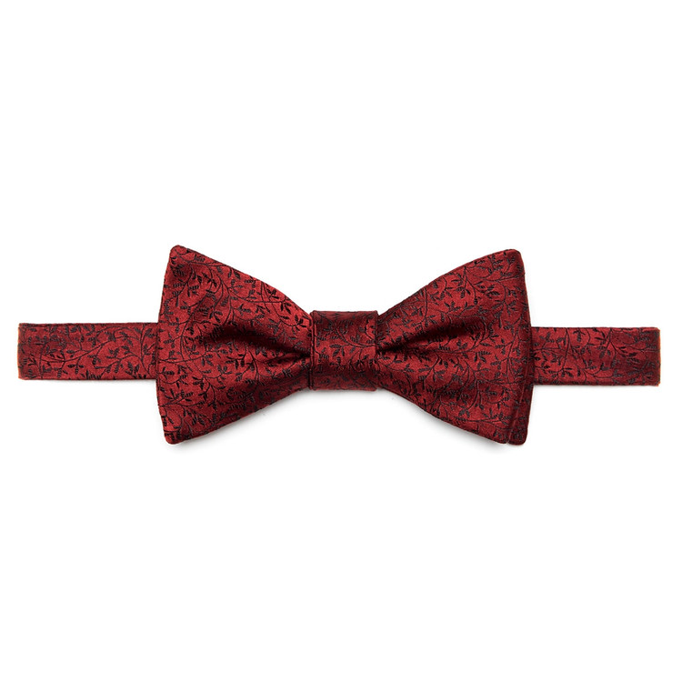 Red and Black Botanical 'Robert Talbott Protocol' Hand Sewn Woven Silk Bow Tie by Robert Talbott