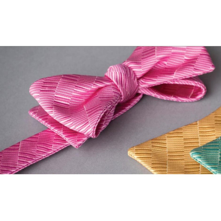 Best of Class Pink Tonal 'Spanish Bay' Hand Sewn Woven Silk and Cotton Bow Tie by Robert Talbott