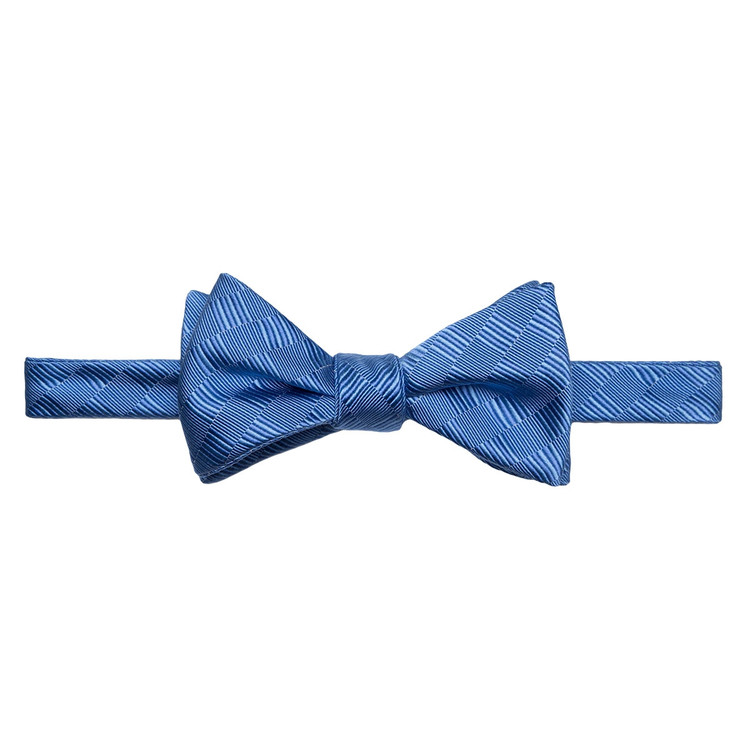Best of Class Blue Tonal 'Spanish Bay' Hand Sewn Woven Silk and Cotton Bow Tie by Robert Talbott