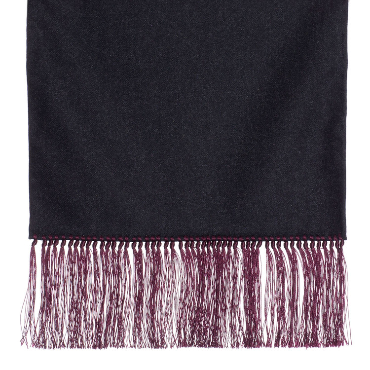 Wool Scarf in Charcoal with Burgundy Silk Fringe by Robert Talbott
