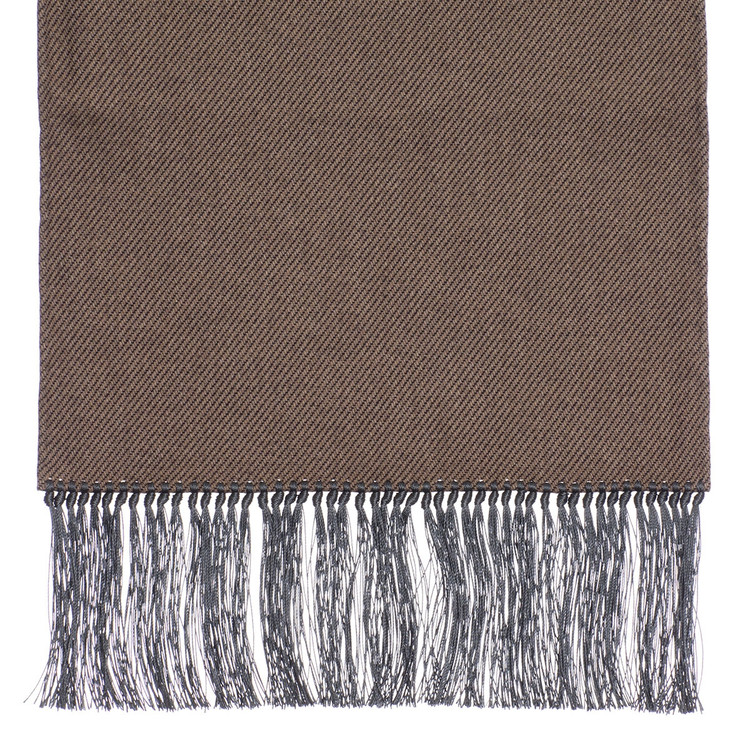 Wool Scarf in Brown with Grey Silk Fringe by Robert Talbott