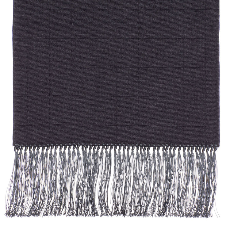 Wool Scarf in Grey with Black Windowpane and Grey Silk Fringe by Robert Talbott