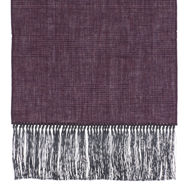 Cotton Scarf in Wine Check with Grey Silk Fringe by Robert Talbott