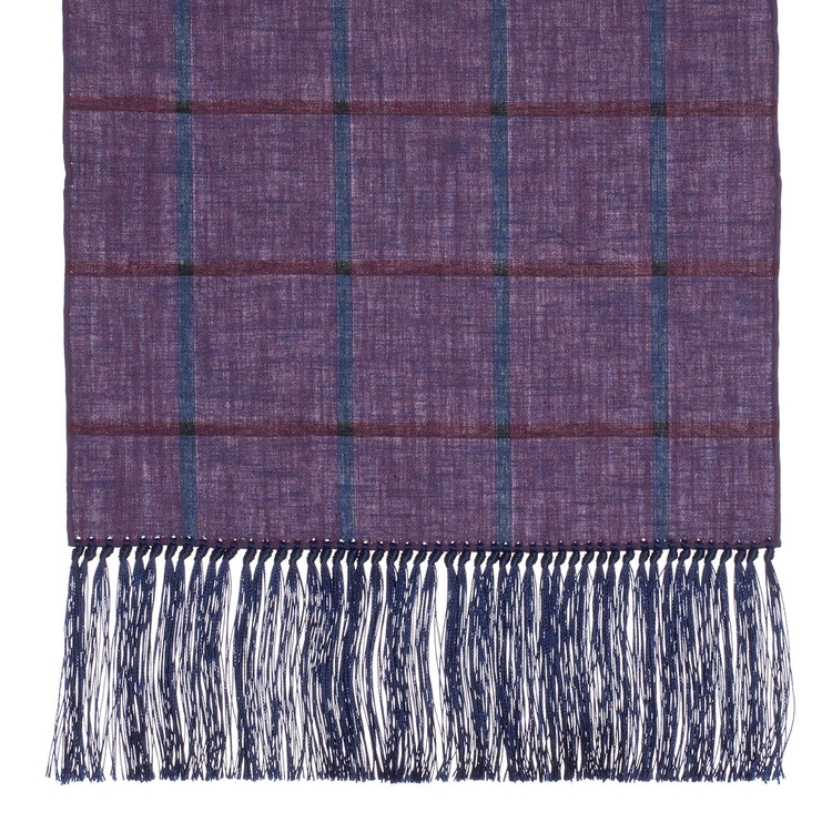Cotton Scarf in Dark Purple Check with Navy Silk Fringe by Robert Talbott
