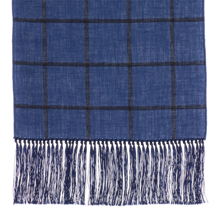 Cotton Scarf in Blue Check with Navy Silk Fringe by Robert Talbott