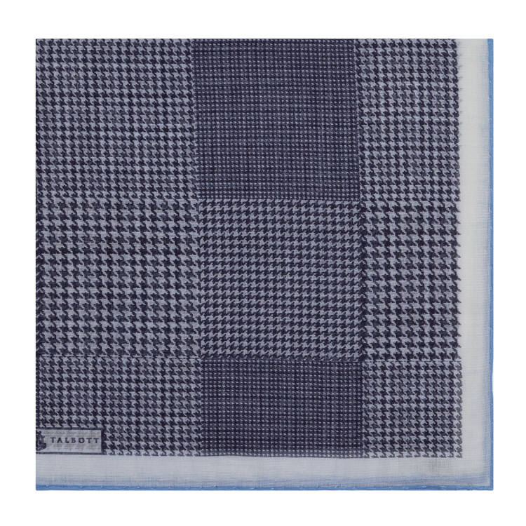 Navy Houndstooth Cotton and Cashmere Blend Pocket Square by Robert Talbott