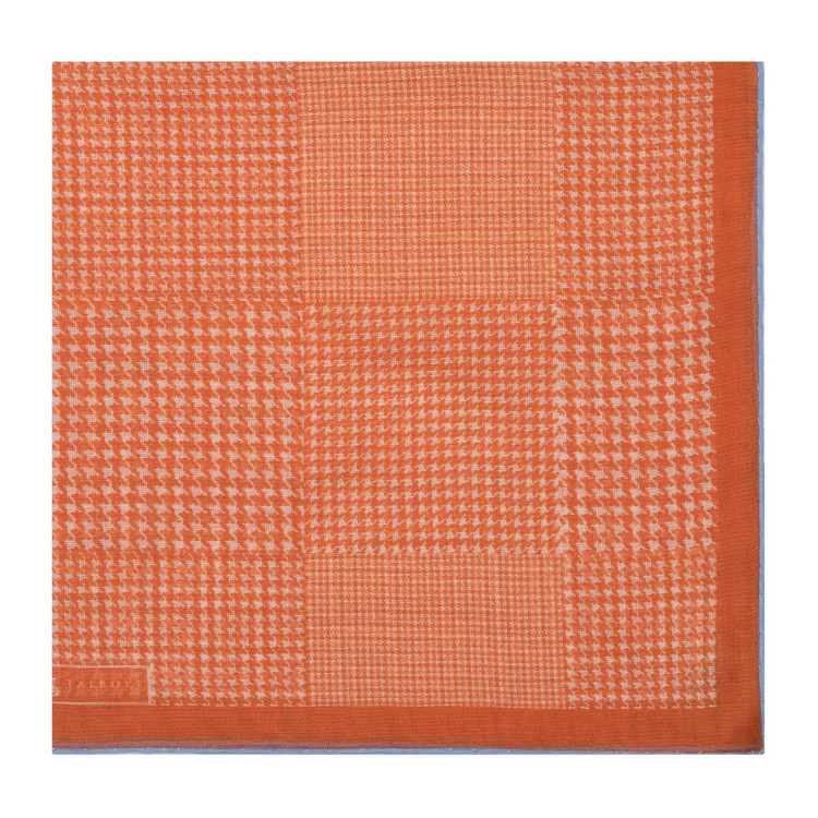 Orange Houndstooth Cotton and Cashmere Blend Pocket Square by Robert Talbott