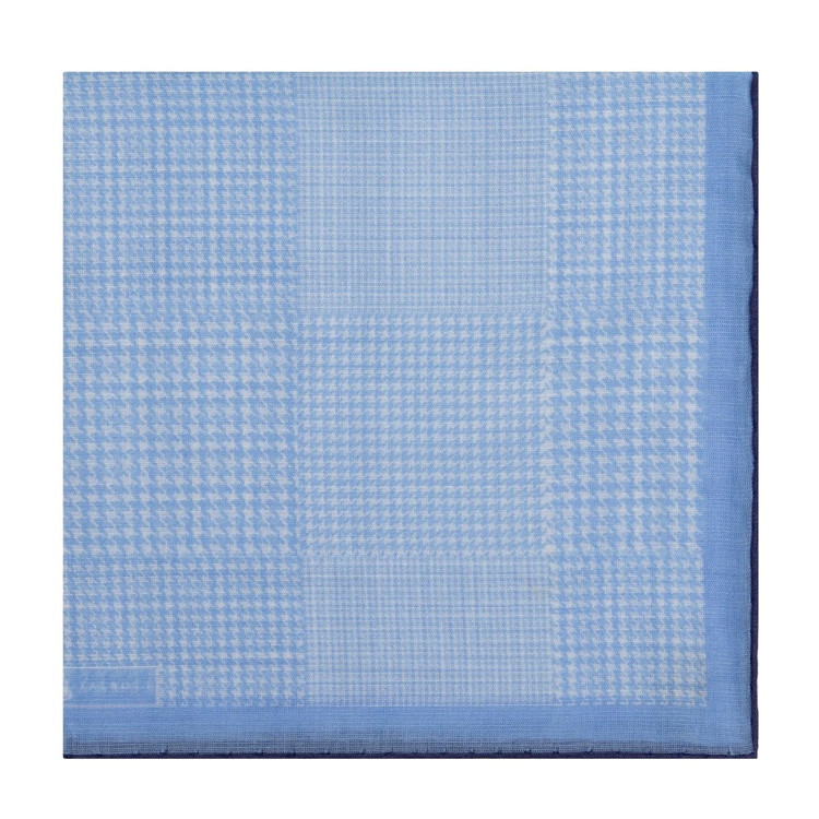 Sky Blue Houndstooth Cotton and Cashmere Blend Pocket Square by Robert Talbott