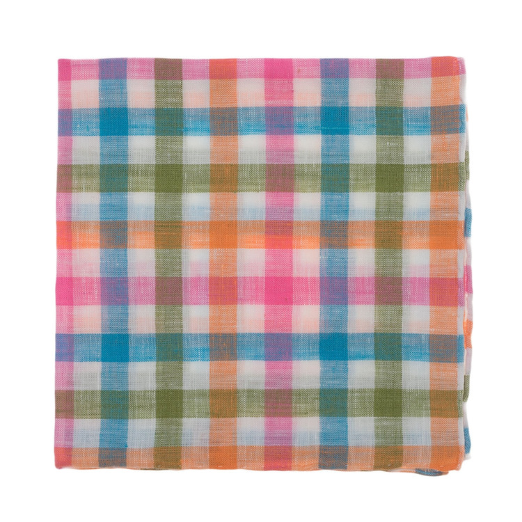 Bright Multi Check Linen Pocket Square by Robert Talbott