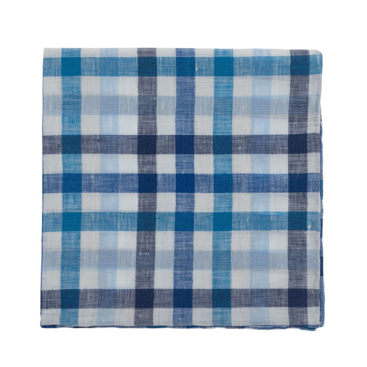 Blue and White Plaid Linen Pocket Square by Robert Talbott
