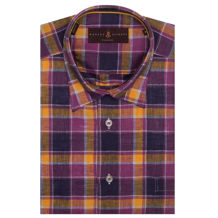 Purple and Orange Plaid Linen 'Anderson II' Sport Shirt by Robert Talbott