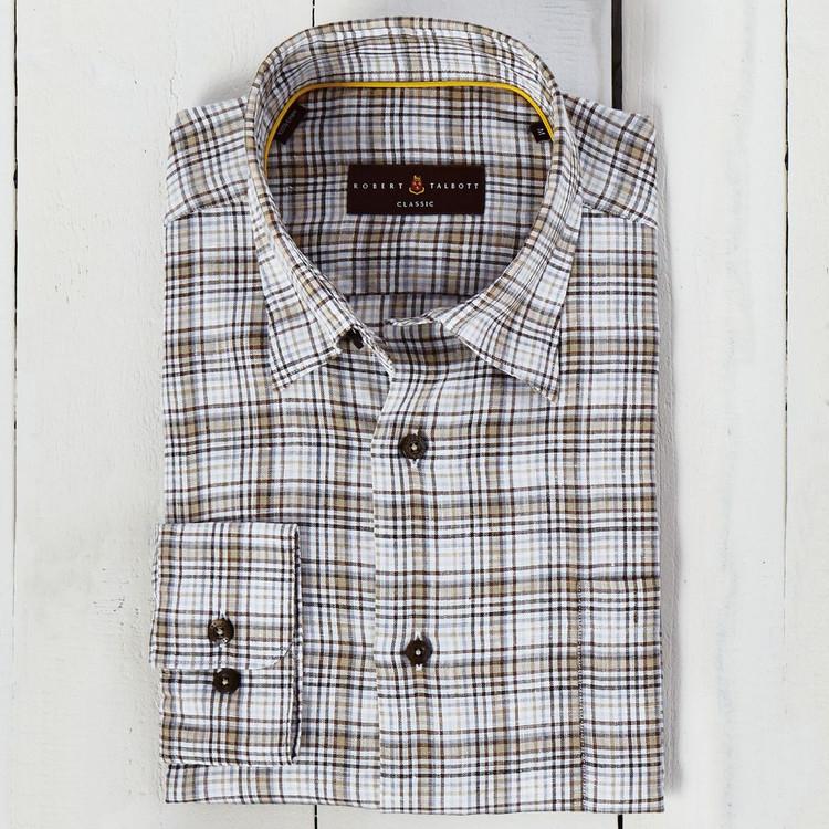 Brown and Grey Check Linen 'Anderson II' Sport Shirt by Robert Talbott