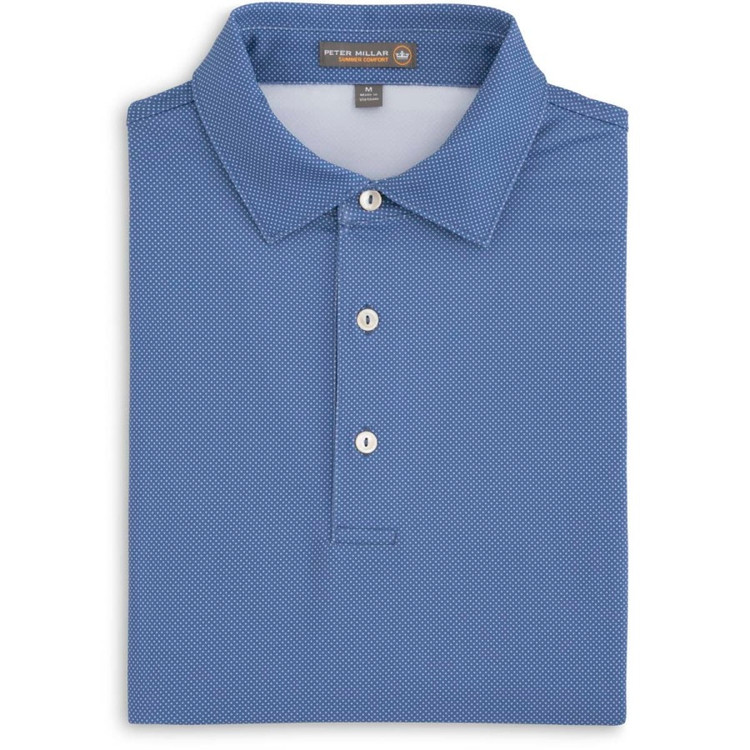 Pointer Print Mini Polka Dot Stretch Jersey 'Crown Sport' Performance Polo with Self Collar in Ink (Size Large) by Peter Millar