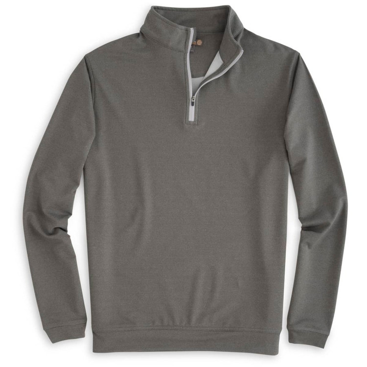 'Perth' Stretch Loop Terry Quarter-Zip Performance Pullover in Smoke (Size Large) by Peter Millar