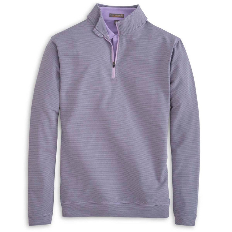 'Perth' Sugar Stripe Stretch Loop Terry Quarter-Zip Performance Pullover in African Violet by Peter Millar