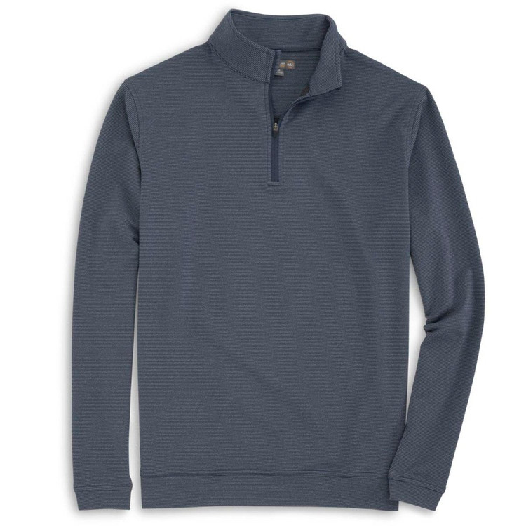 'Perth' Sugar Stripe Stretch Loop Terry Quarter-Zip Performance Pullover in Midnight (Size Large) by Peter Millar