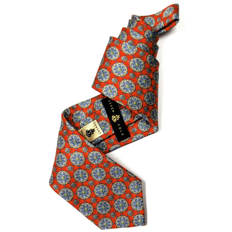 Orange Medallion Overprint 'Villa Fiori' Seven Fold Silk Tie by Robert Talbott