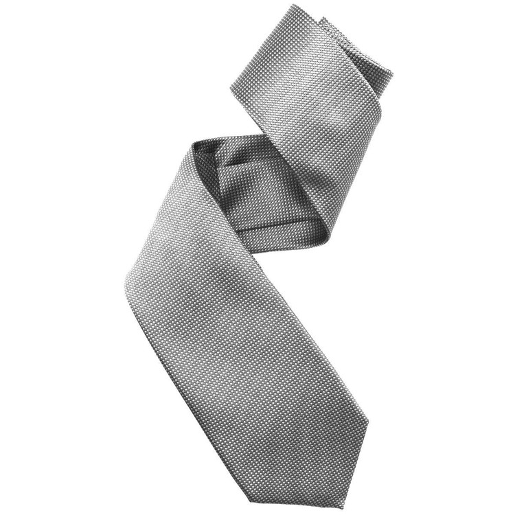 Grey and Pale Grey Pindot Woven Silk Tie by Robert Jensen