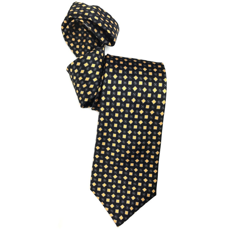 Black, Silver-Grey, and Gold Neat Geometric Printed Silk Tie by Robert Jensen