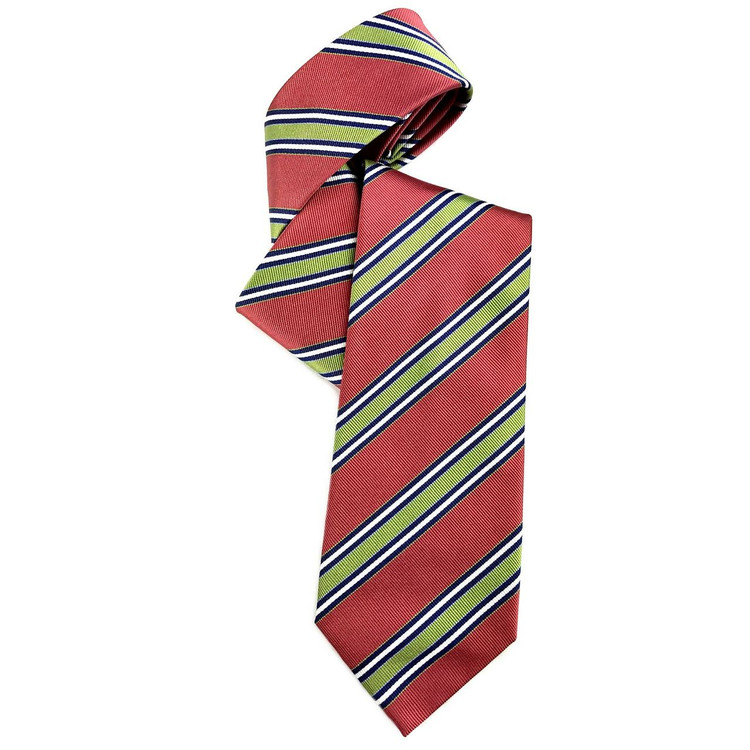 Coral-Red and Green Silk Faille Repp Tie by Robert Jensen