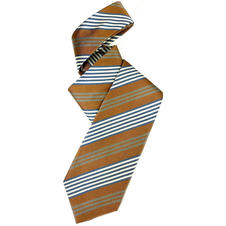 Tan, Blue, Grey, and White Silk Faille Repp Tie by Robert Jensen