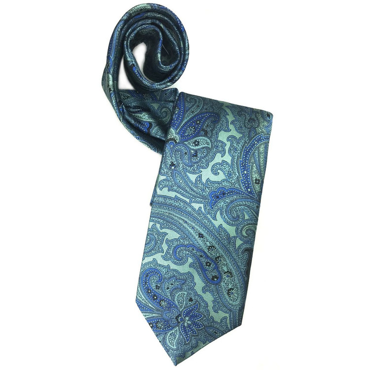 Blue and Ocean Paisley Woven Silk Tie by Robert Jensen