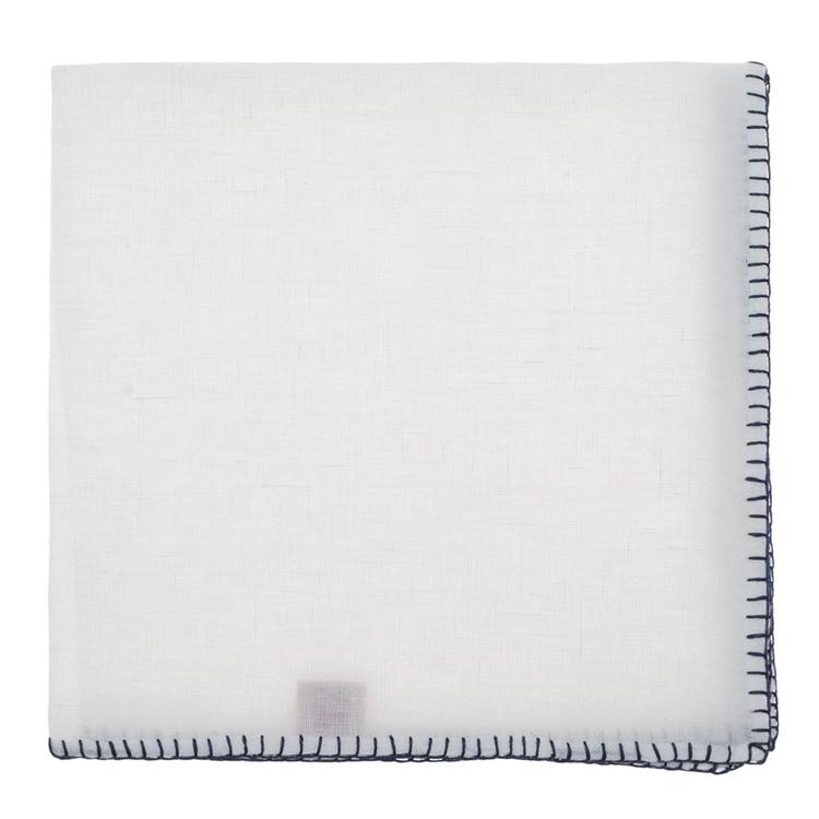 White with Navy Stitch Edge Linen Pocket Square by Robert Talbott