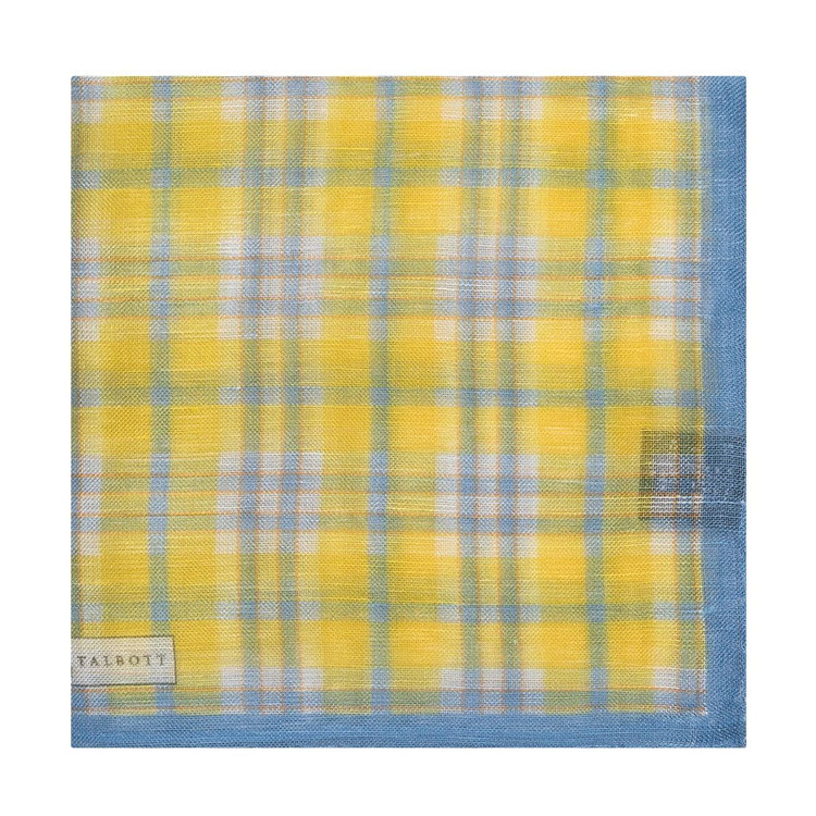 Lemon and Sky Blue Plaid Linen and Silk Blend Pocket Square by Robert Talbott