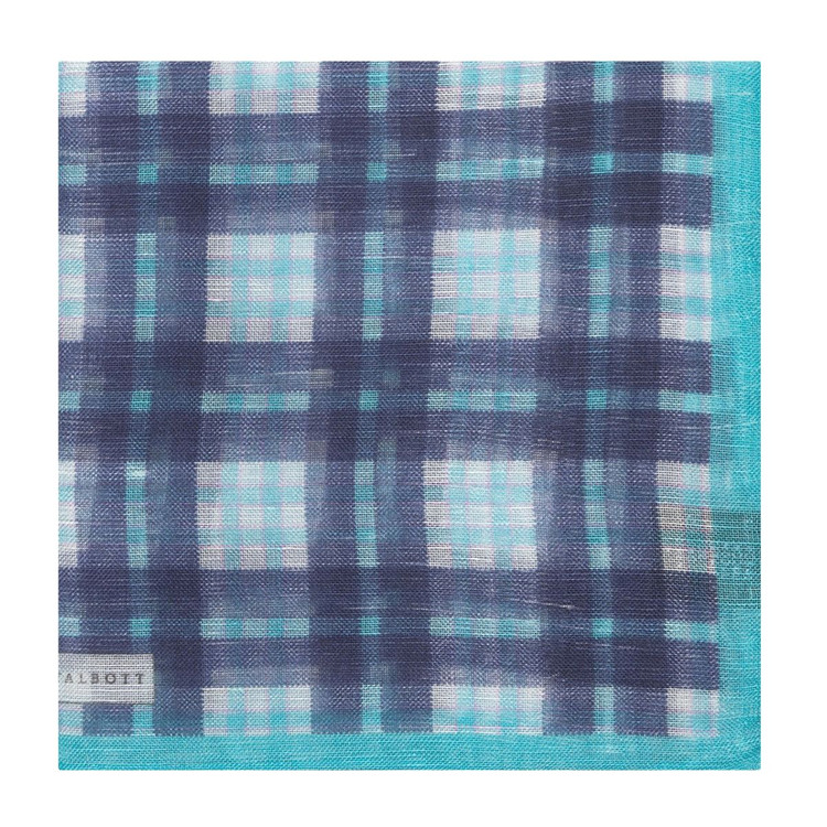 Navy and Aqua Plaid Linen and Silk Blend Pocket Square by Robert Talbott