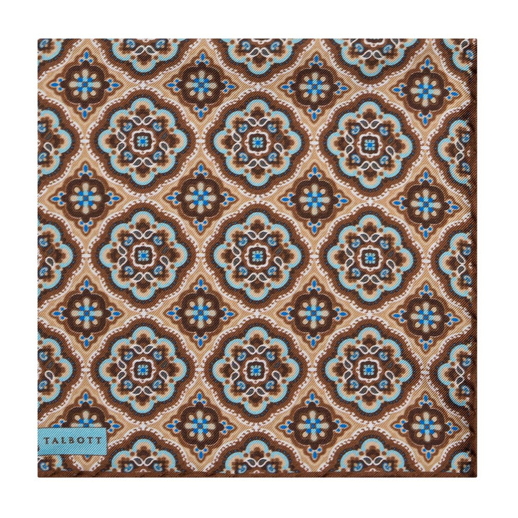 Brown and Blue Geometric Medallion Silk Pocket Square by Robert Talbott