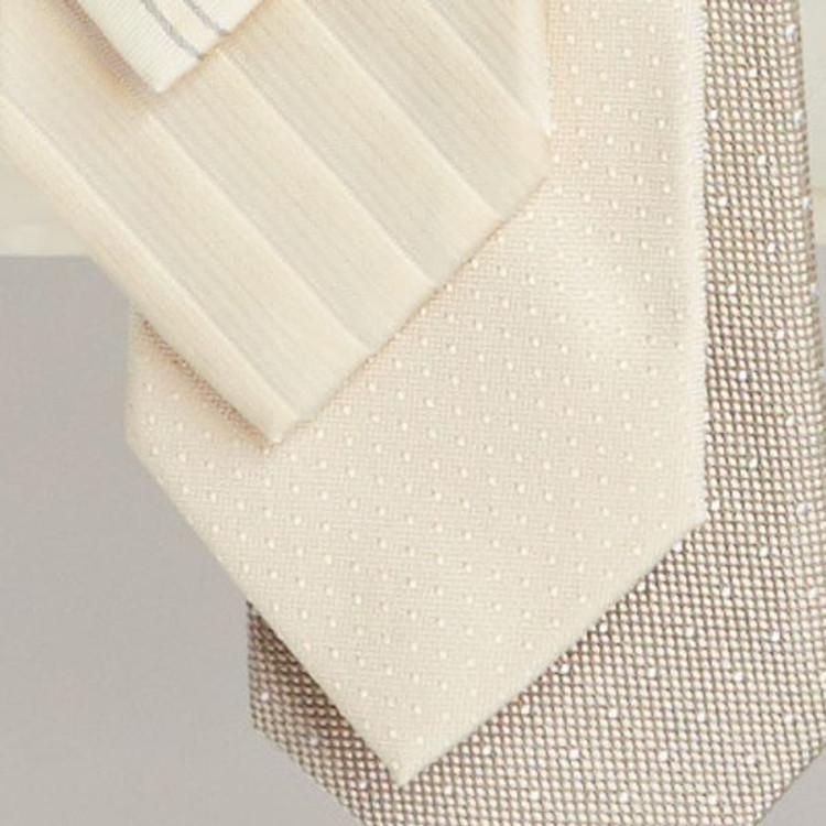 Ecru Dot 'Robert Talbott Protocol' Hand Sewn Woven Silk Tie by Robert Talbott