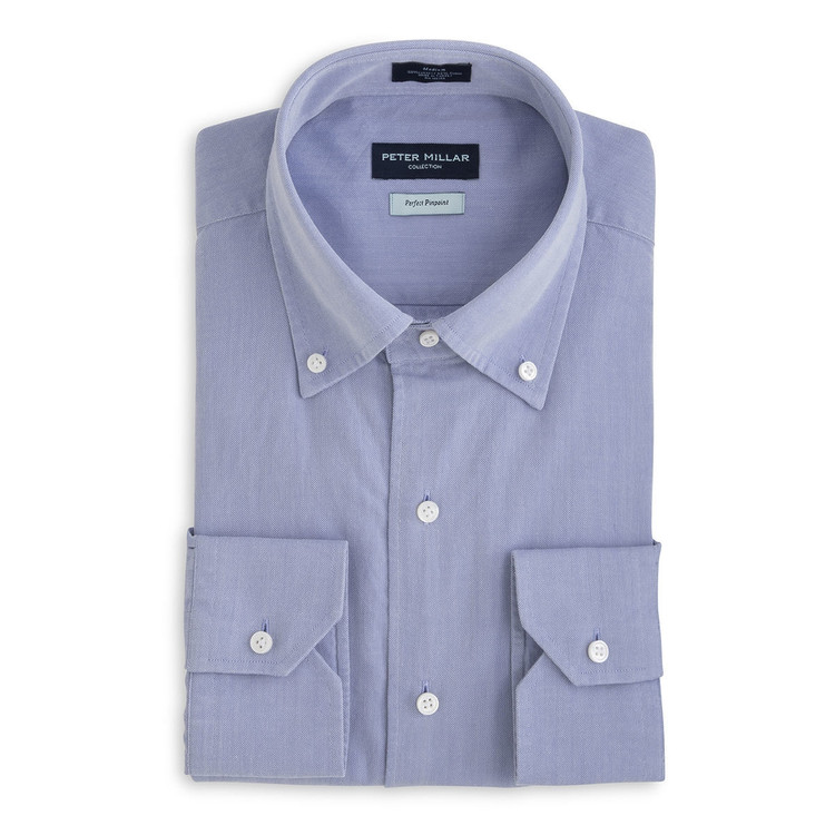 Collection Perfect Pinpoint Dress Shirt with Button Down Collar in Blue Ceillo (Size X-Large) by Peter Millar