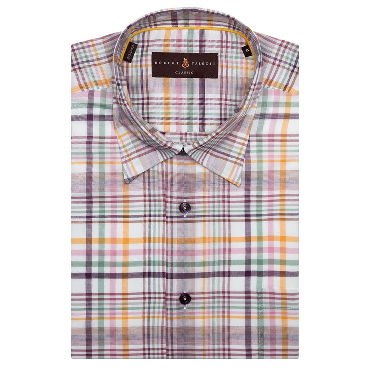Plum, Gold, and White Plaid 'Anderson II' Sport Shirt by Robert Talbott
