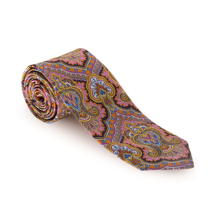 Best of Class Pink, Butter, and Blue 'Carmel Print' Silk Tie by Robert Talbott