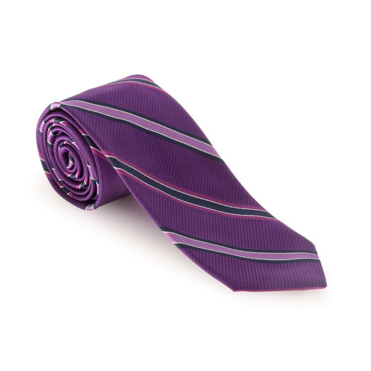 Best of Class Purple and Lavender Stripe 'Heritage' Woven  Silk Tie by Robert Talbott