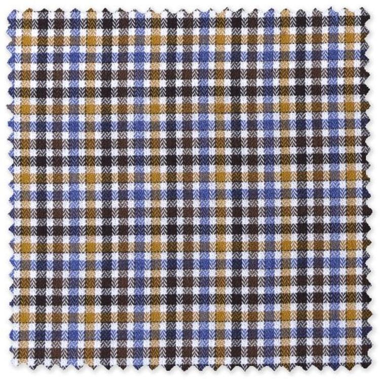 Blue, Brown, Canary, and White Check Custom Dress Shirt by Robert Talbott