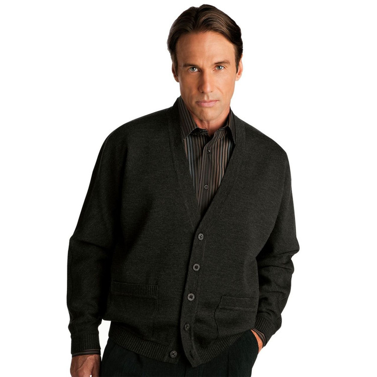 Classic All Wool V-Neck Cardigan in Black (Size X-Large Tall) by St. Croix