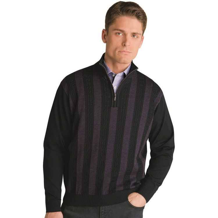 Mini Cable Merino Wool Half Zip Pullover in Black (Size X-Large) by St. Croix