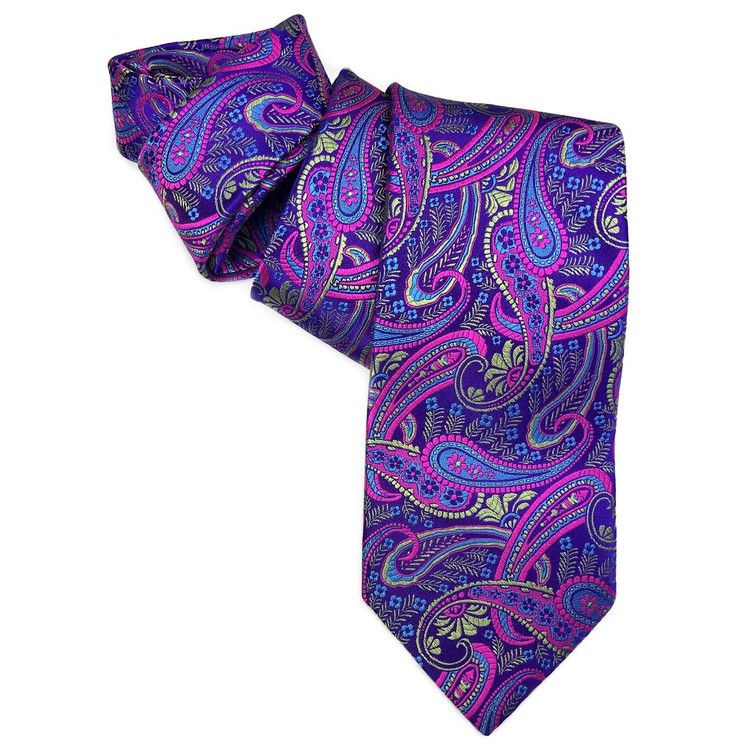 Best of Class Purple, Green, and Pink Paisley 'Heritage' Woven Silk Tie by Robert Talbott